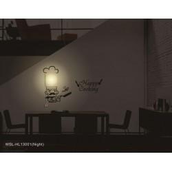 Lampa ścienna + naklejki na ścianę do kuchni Kucharz HM4-WSL-HL13001