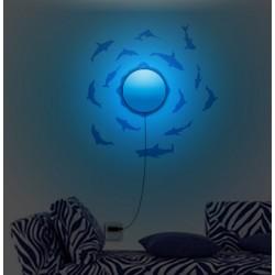 Lampa ścienna + naklejki na ścianę dla dzieci Rybki HM4-WSL-15RL010