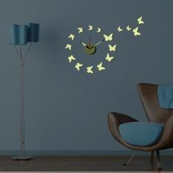 Zegar ścienny + ozdoby na ścianę Motyle DIY HM4-WSC-10EG006 + naklejki fluorescencyjne