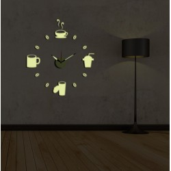 Zegar ścienny + ozdoby na ścianę DIY Napoje HM4-WSC-10EG007 + naklejki fluorescencyjne